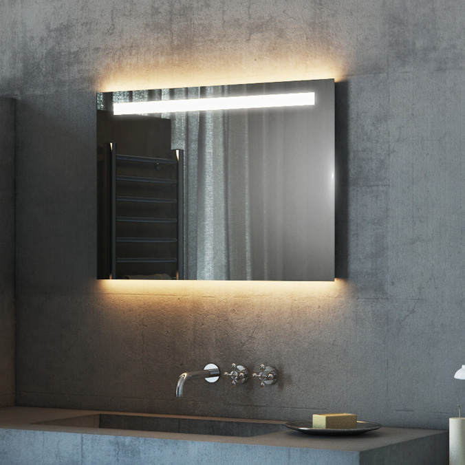 Led bathroom mirrors with demister